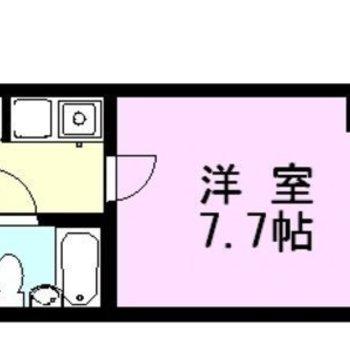 シンプルな1Kプランのお部屋です。