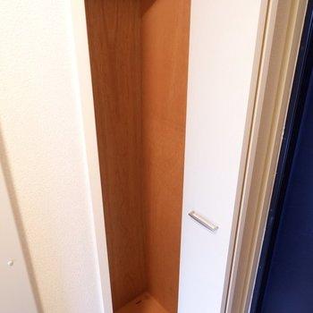 収納スペースは玄関横にあります。衣装ケースなどを使うと縦の空間を上手く利用できそうです。