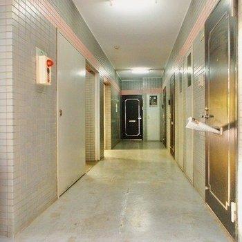 玄関前共用部。階段も廊下も道幅広めで家具の搬入もスムーズそう。
