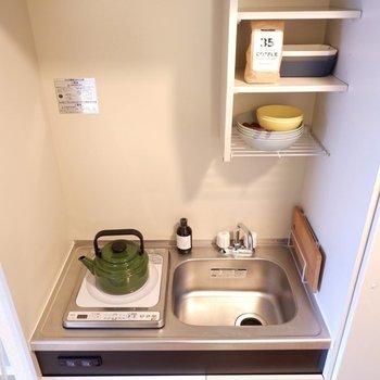 シンクボードなどで、作業スペースを作ると調理がしやすくなりますね。