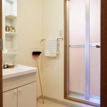 ゆったりとした脱衣所。洗面台横にラックなどが設置できますよ。