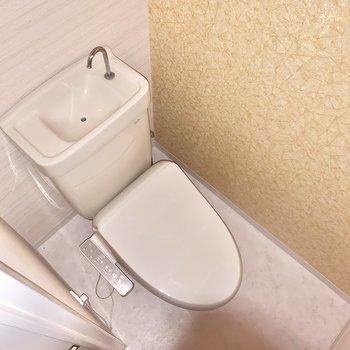 温水洗浄付きの個室トイレです。※クリーニング前の写真です※フラッシュを使用しています