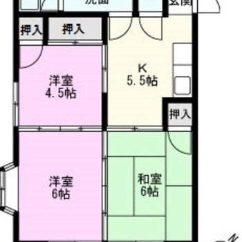 各個室、広さが均等めな3K。