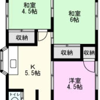 和室が2部屋ある3K。
