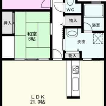 最上階、南向き。日当たりもとても良いお部屋です。