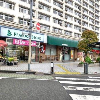 東口側にも飲食店やお花屋さんなどがありました。