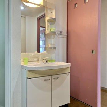 収納ポケット付き洗面台で朝の身支度もスムーズに。※写真の家具・雑貨はサンプルのものです