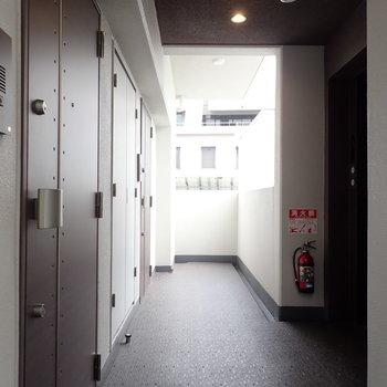 共用部】シックなトーンの廊下。
