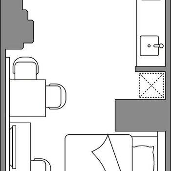 室内にサニタリーもキッチンもありますよ。※間取りは参考です。