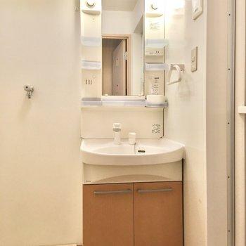 洗面台はベーシックなタイプ。鏡の横に化粧水などを置いておけます。