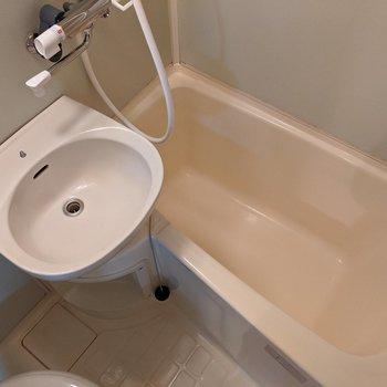 洗面台と浴室があります。