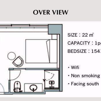客室内にサニタリーやデスクが揃っていて使いやすそうな1Rですよ◎