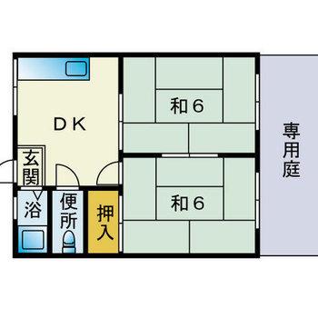和室2部屋。のんびり暮らしたい!(※画像は反転間取り図です)