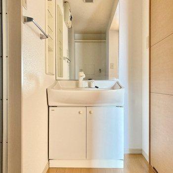 洗面台は鏡が大きい!横には小さなゴミ箱もおけそうだなぁ。(※写真は3階の反転間取り別部屋のものです)