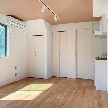 エアコン近くの扉はそれぞれ、クローゼットと洗濯機置き場。