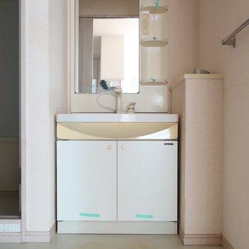 どっしり大きな洗面台ですね(※写真は1階の反転間取り別部屋、清掃前のものです)