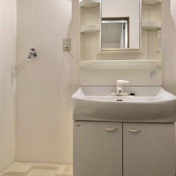 小物もスッキリ収納できる独立洗面台です。※写真は1階の同間取り別部屋のものです