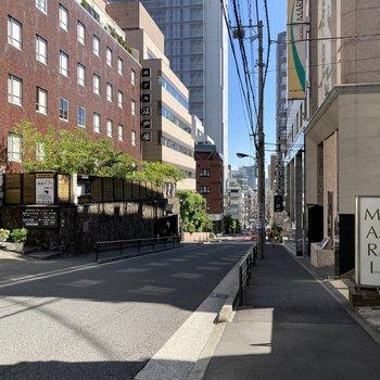 御茶ノ水駅、湯島駅いずれから行く場合にもお部屋まではやや坂なりの道を登ります。