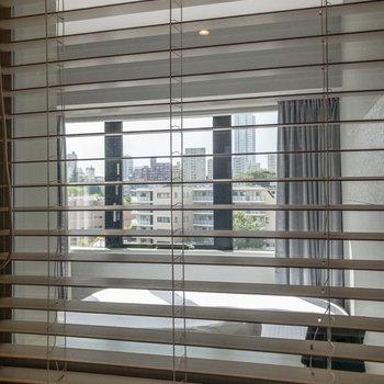 ブラインドを開けると居室越しに外の景色が見れます。