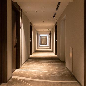 【共用部】程よい明るさで高級感のある共用廊下。