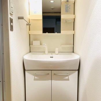 シンプルで使いやすそうな洗面所。(※写真は6階の同間取り別部屋のものです)