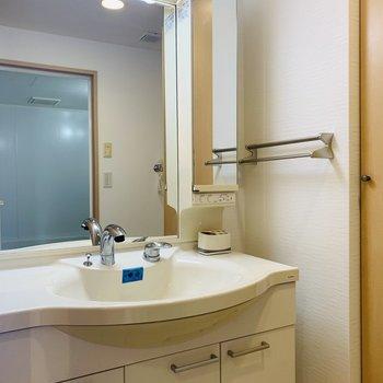左側には大きな洗面所。朝の支度も混雑しなさそうです。(※写真は同間取り反転のものです。)