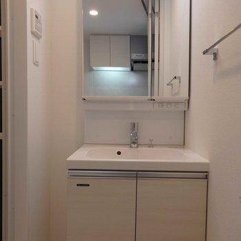 洗面台はシンプル。スタイリッシュですね。(※写真は4階の同間取り別部屋のものです)
