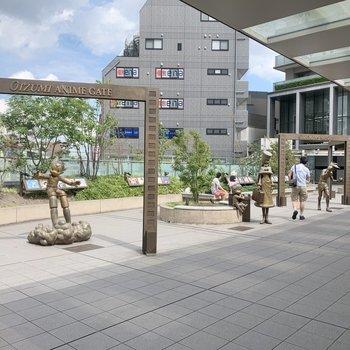 大泉学園は「日本アニメの発祥の地」でもあり、東映作品のモニュメントが建っています。