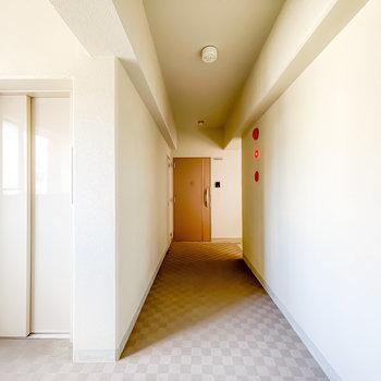 玄関前の共用部は簡素な印象ですが、エレベーターが近くて使いやすい。