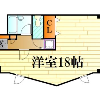 ワンルームの広々空間。窓が大きいので開放的なんです!