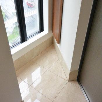 玄関も三角形!※写真は14階の同間取り別部屋のものです