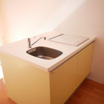 キッチンは奥行きが広いタイプ(※写真は3階の反転間取り別部屋のものです)