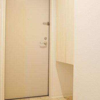 玄関部には大きな収納があります。(※写真は1階の同間取り別部屋のものです)