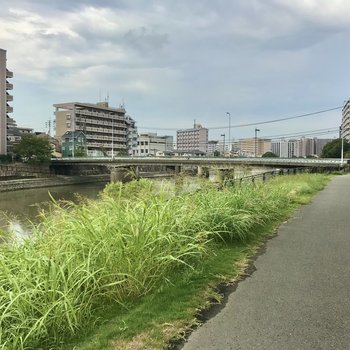 バス停まではこんな道を5分ほど橋を渡って歩きましょう〜