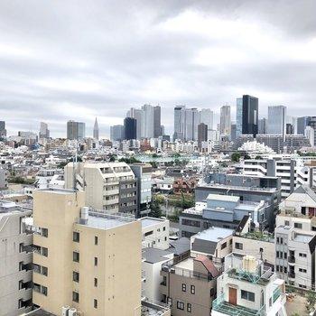 共用部からの眺めです。新宿のビル街も見えます。