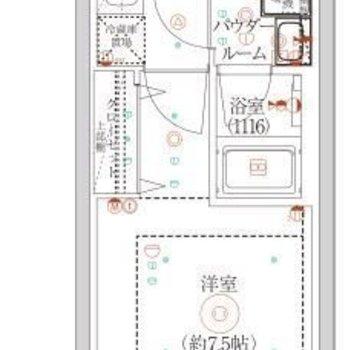 約7.5帖の洋室がある1Kタイプのお部屋です。