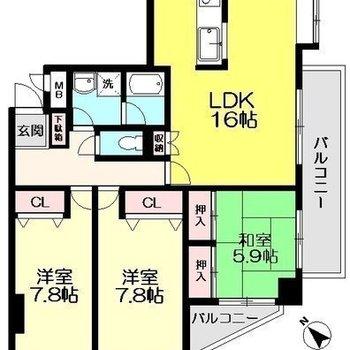 角部屋、3LDKタイプのお部屋です。