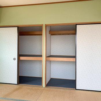 【和室】押入れの中も、壁紙を綺麗なものに張り替え済み。