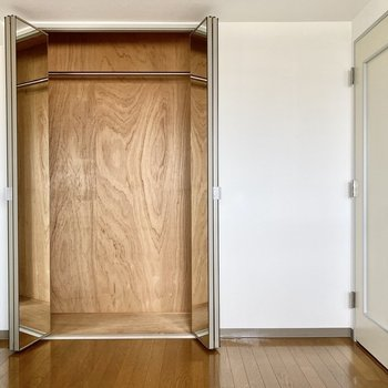 【洋室】クローゼットは大きめ。衣装ケースを入れると縦の空間をうまく使えそうです。
