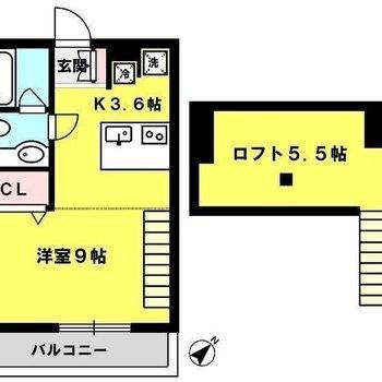居室部分はトータル約12帖ほど