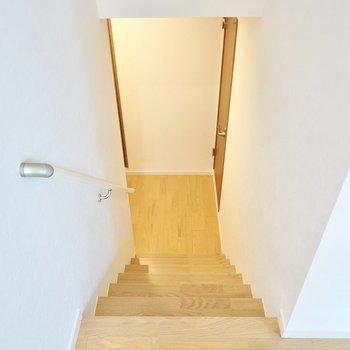 その他の水回りは階段を降りた先に。右が脱衣所、左がトイレです。