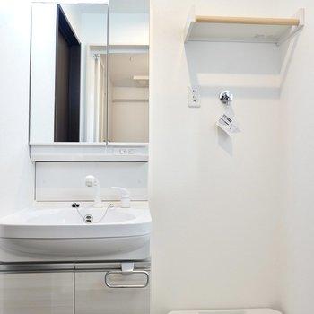 左側には洗面台と洗濯機置場。洗剤などを置ける棚のデザインが素敵……!