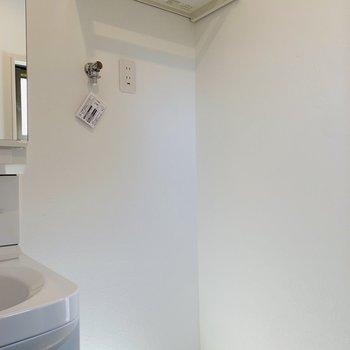 ユーティリティー入って右側に洗濯機置き場。上部には収納も。