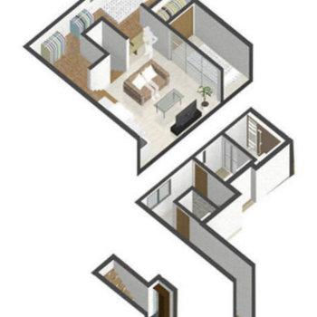 間取りは1R。ですが3階建てのような不思議なお部屋です。
