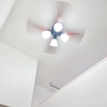 見上げると、なんと吹き抜け!見た目が良く、空調効率も良くしてくれるシーリングファンライト付き◎