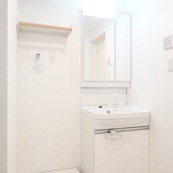 脱衣所に入ると正面に洗面台と洗濯機置場。洗剤などを置ける棚のデザインが素敵……!