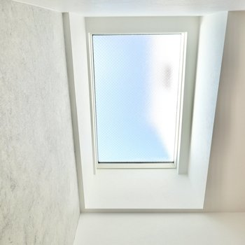 なんだか明るいな……と思って上を見上げると、なんと天窓が……!