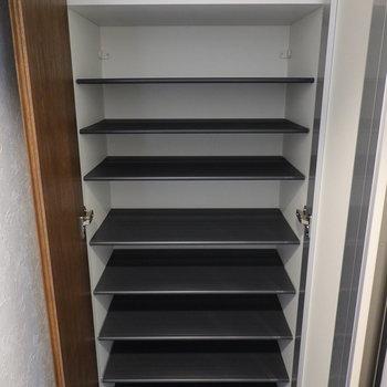 靴箱内は1段に3足ほど入る大きさ。天井近くまで高さがあるのでシーンに合わせた様々な靴を用意できますね!