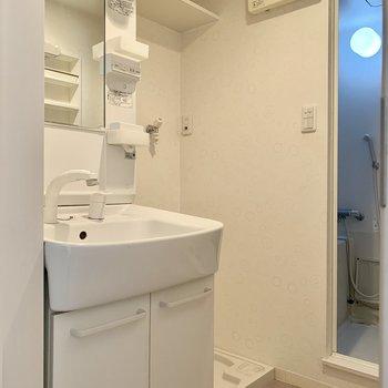 独立洗面台と洗濯機置き場があります!