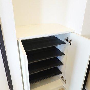 1段に2足ほど入る大きさです。靴箱の上は鍵置き場などに。(※写真は4階の同間取り別部屋のものです)